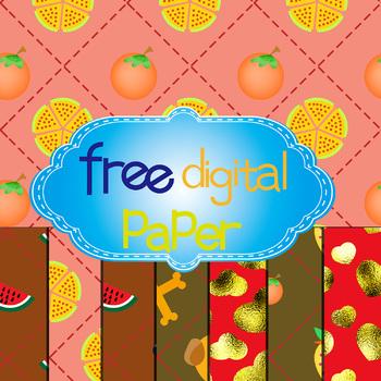 Free Watermelon,Tomato,Pizza,Dog and Bone Digital Paper