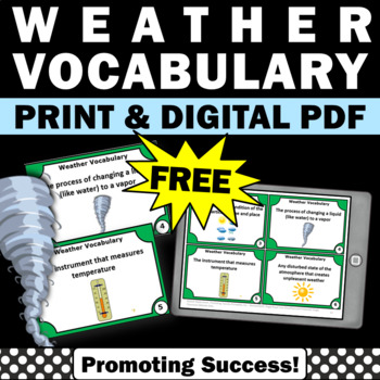 image about Free Printable Task Cards titled Free of charge Climate Job Playing cards Sampler