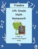 Free Week of Common Core Aligned 4th Grade Math Homework