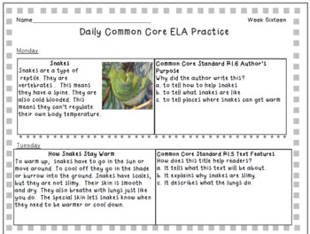 Free Week of Grade 2 Daily Common Core Reading