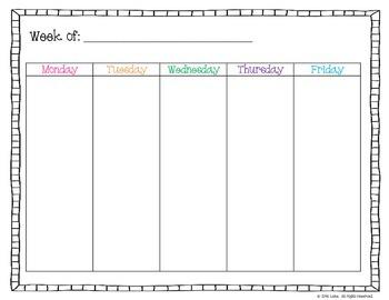 Free Weekday Planner