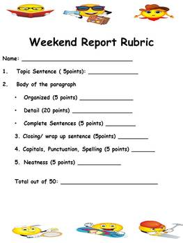 Free Weekend Fun Narrative Writing-- Common Core