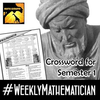 Free Weekly Mathematician Crossword (1st Semester - #WeeklyMathematician facts)