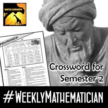 Free Weekly Mathematician Crossword (2nd Semester - #Weekl