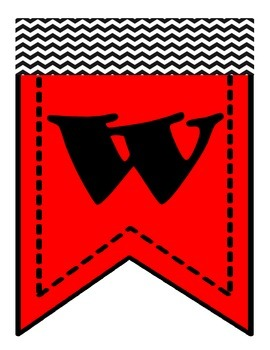 Free Welcome Banner (Red & Black Chevron) Printable