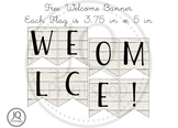 Free Welcome Banner with White Wood Background