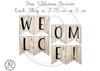 Free Welcome banner with wood background
