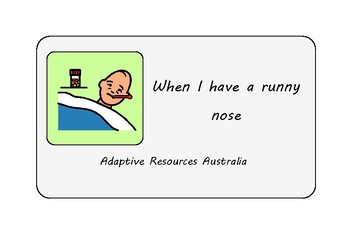Free ~ When I am Sick Social Story : Runny Nose