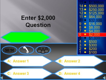 Free Who Wants to be a Millionaire Review Game (PowerPoint)