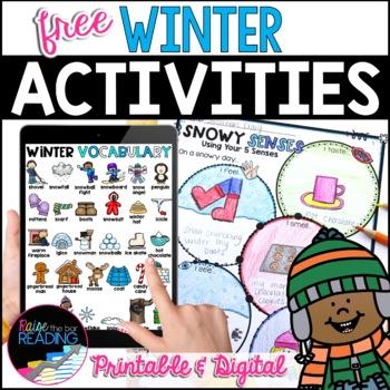 Free Winter Activities - Fun No Prep Winter Worksheets & Winter Vocabulary Cards