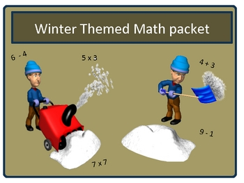 Free Winter Basic Math Fact Practice sheets With Keys