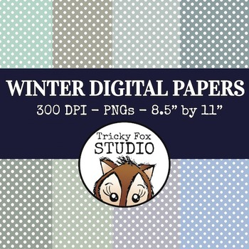 Free Winter Digital Papers: Polkadot Winter Digital Papers
