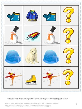 Free Winter File Folder Sampler Special Education Preschool Kindergarten Autism