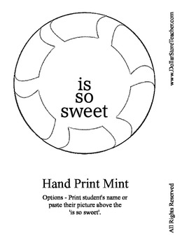 Winter Holiday Craft - Hand Print Mint - for Preschool and Kindergarten