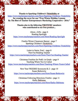 Free Winter Holiday Lessons By The Best of Teacher Entrepreneurs MC - 2016