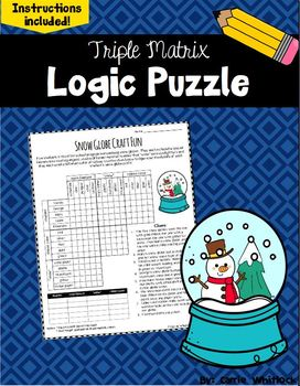 Free Winter Logic Puzzle - Triple Matrix - Challenging