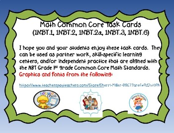 Free Winter Math Task Cards for 1st Grade