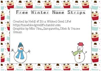 Free Winter Name Strips