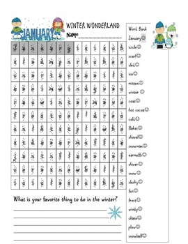 Free Winter New Year's Word Search