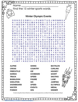 Free Winter Olympic Events Word Find