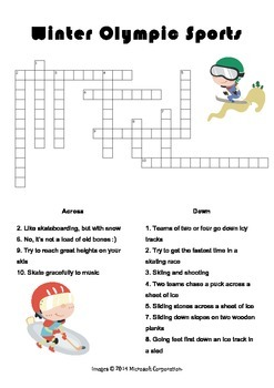 Free Winter Olympic Fun Word Game Worksheets