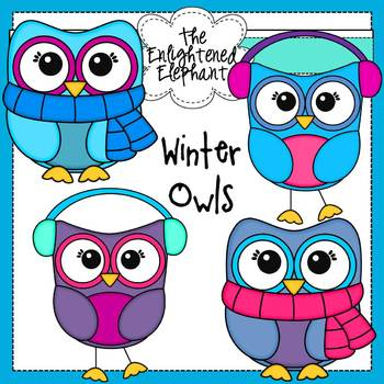 Free Winter Owls Clip Art by The Enlightened Elephant | TpT