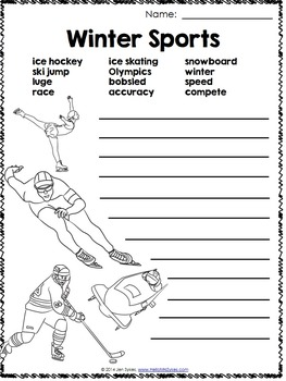 Winter Sports Word Work Freebie Olympic Games
