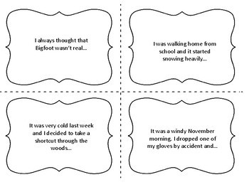 Winter and Holiday Themed Short Story Starters on Task Cards (Free)