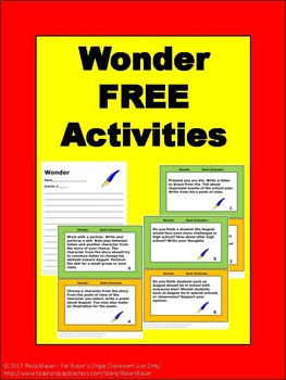 Free Wonder Book Extension Activities