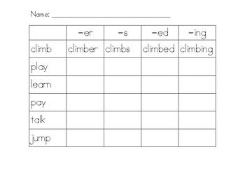 Free Word Ending Worksheet