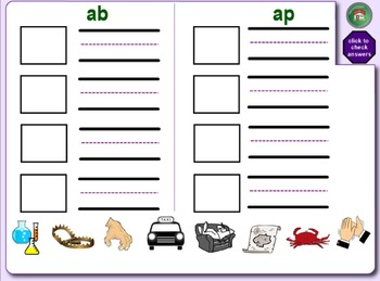Free Word Families SMARTboard With Matching Cut, Paste & Spell Worksheets