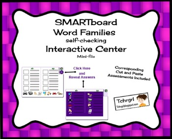Free Word Families SMARTboard With Matching Cut, Paste & S