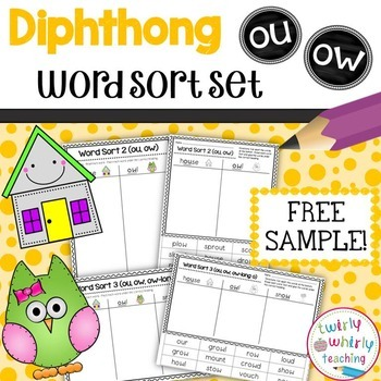 Word Sort ou, ow by Twirly Whirly Teaching | Teachers Pay Teachers