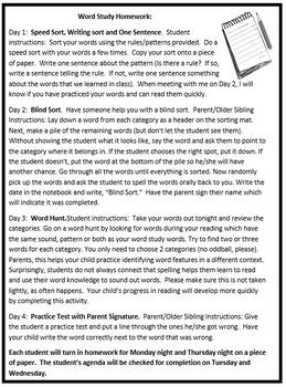 Free Word Study Homework Editable Word File