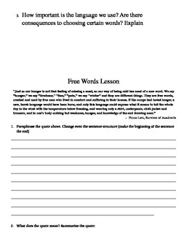 Free Words: 7 Connotation and Denotation Activities with Night