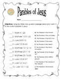 Free Bible Worksheet: Matching Parables of Jesus
