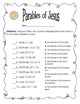 Free Bible Worksheet Matching Parables Of Jesus By Bible