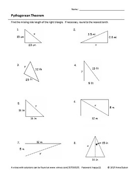 Pythagorean Theorem Worksheet with Video Answers by ...