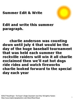 Free Writing Activity Summer Theme