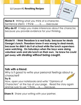 Free Writing Connections for Gold Leveled Literacy Lessons # 1-10