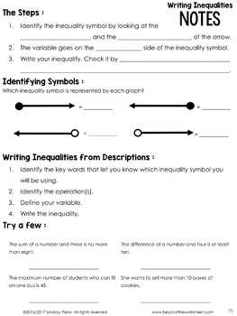 Free Writing Inequalities Lesson : 7th Grade Curriculum Sample Lesson