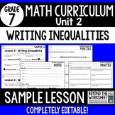 Free Writing Inequalities Lesson : 7th Grade Curriculum Sa