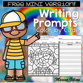 Free Writing Prompts Color by Code Mini Set