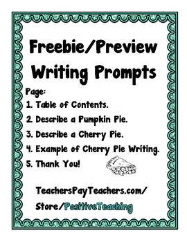 Writing Prompts - Picture Prompt Previews - Freebie