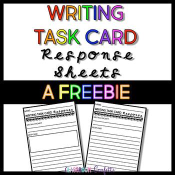 Free Writing Task Card Response Sheets
