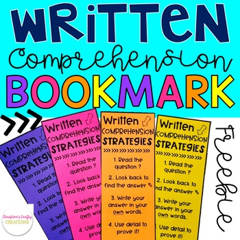 Free Written Comprehension Strategies Bookmark