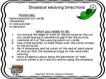 Free Shoelace Weaving Picture Cards for Fine Motor Practice