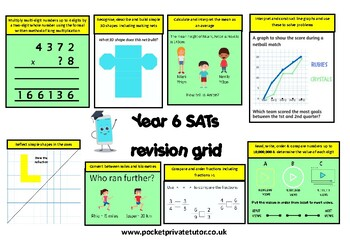 Free Year 6 Sats Revision Grid For Maths By Pocket Private Tutor