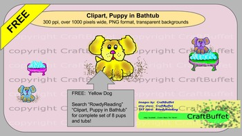 Free, Yellow Dog Clip Art, from set Puppy in Bathtub, dog,