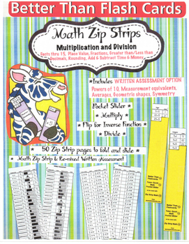 Free Zip Strip Math Grades 2 thru 5 with Written Assessment Task Cards